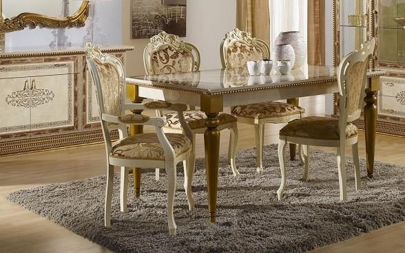 Esstisch Jenny Tisch beige gold Luxus Italien Barock Klassik