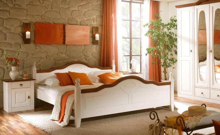 Bett 160x200cm Verra Landhausstil Pinie weiß Massiv