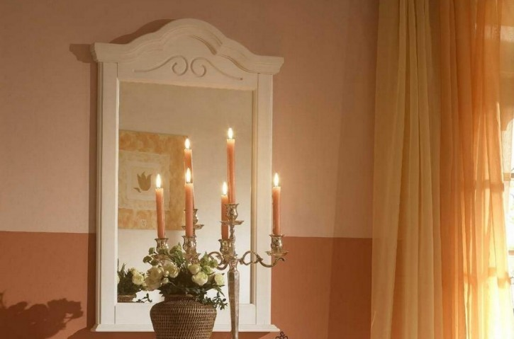 Spiegel Sandra im Landhausstil in weiss Pinie teilmassiv