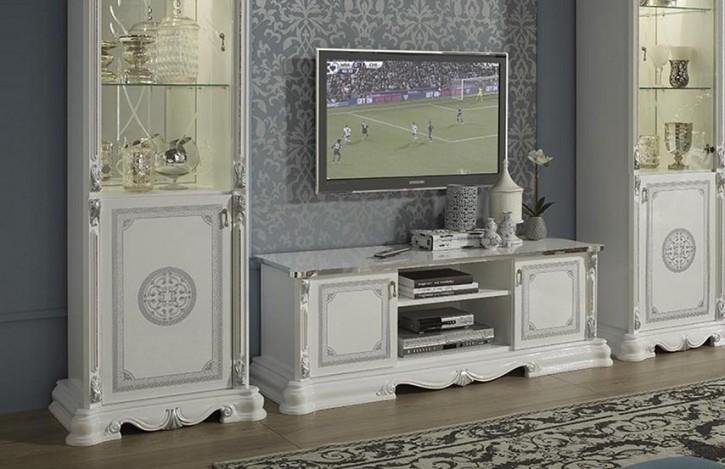 TV Unterschrank Great weiss silber italienische Möbel Barock