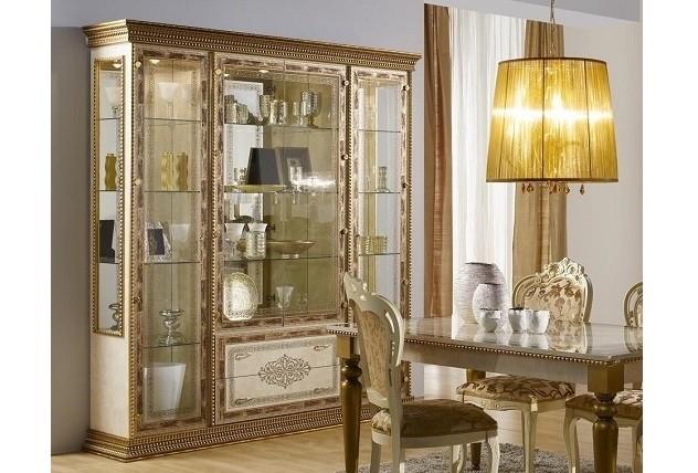 Vitrine Schrank 4-trg Jenny beige gold Barock Stil Italien