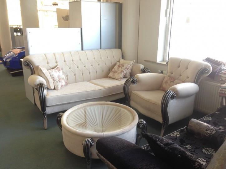 Sofa Couch Set Kübra Ausstellungsstück Polstermöbel creme beige