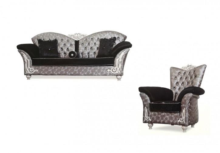 Couch Set Buglem silber grau schwarz Garnituren Polstermöbel