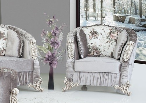 Sessel Dolunay grau glänzend Barock Stil für Wohnzimmer