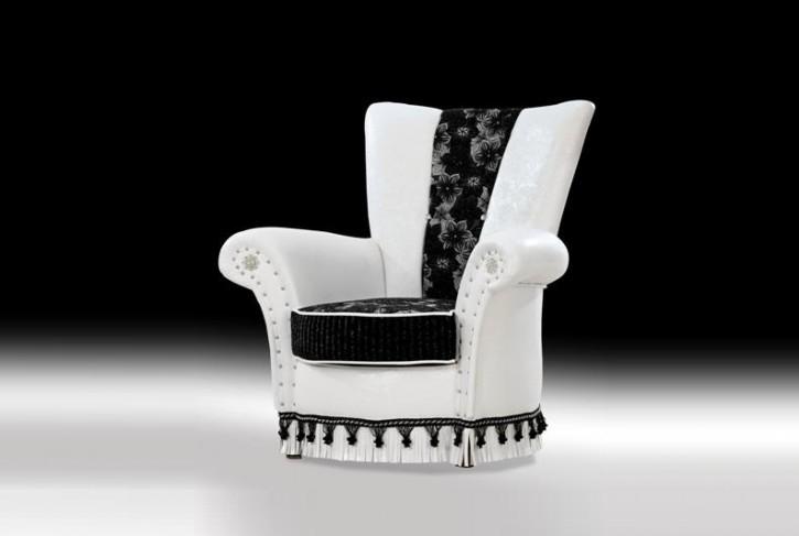 Sessel Una weiss schwarz Chesterfield Sofa Klassik Orient Luxus