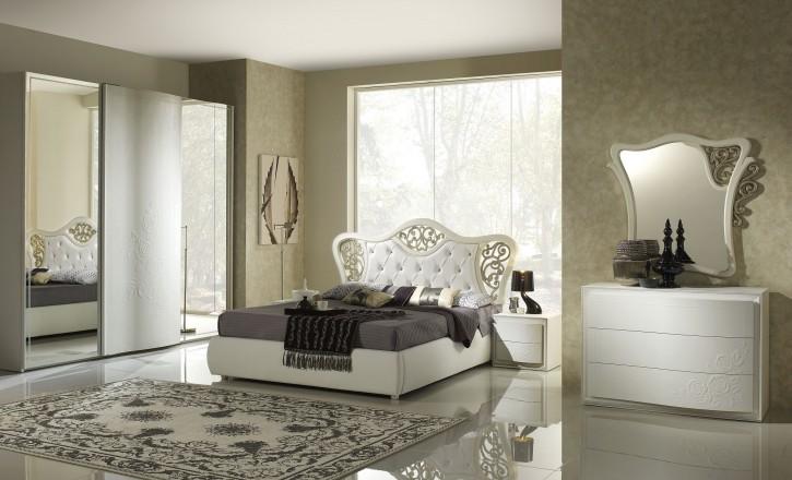 Schlafzimmer Chana Harmony Stauraumbett 160x200 weiss creme Luxu