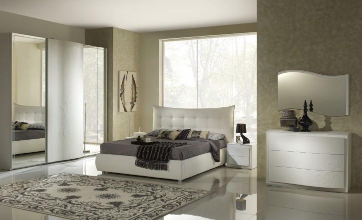 Schlafzimmer Chana 160x 200cm Stauraum weiss creme mit Polster
