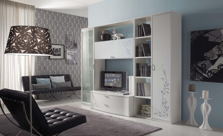 Wohnwand Harmony mit TV Lowboard Regal Vitrine weiss creme matt