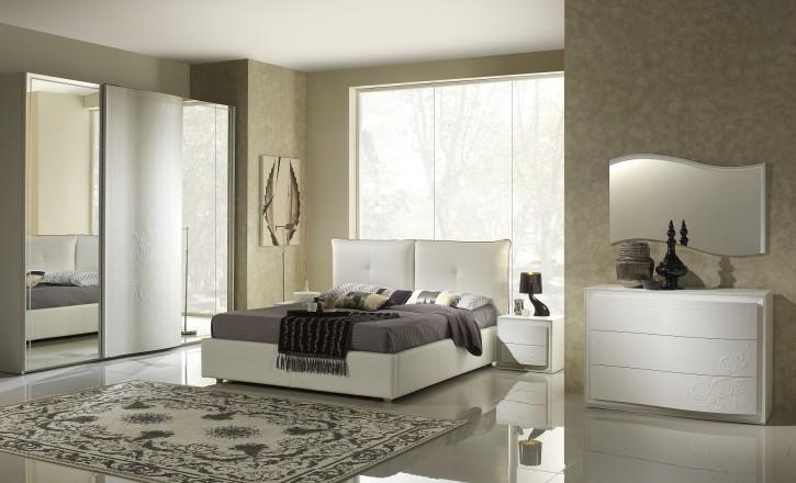 Schlafzimmer Chana Stauraum Bett Taila 160x 200 cm weiss