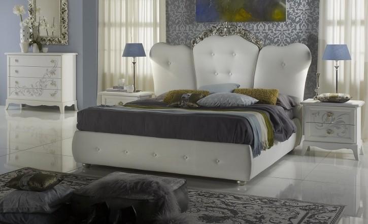 Bett Cilla 180x200cm weiss creme mit Bettkasten Stauraum Luxus