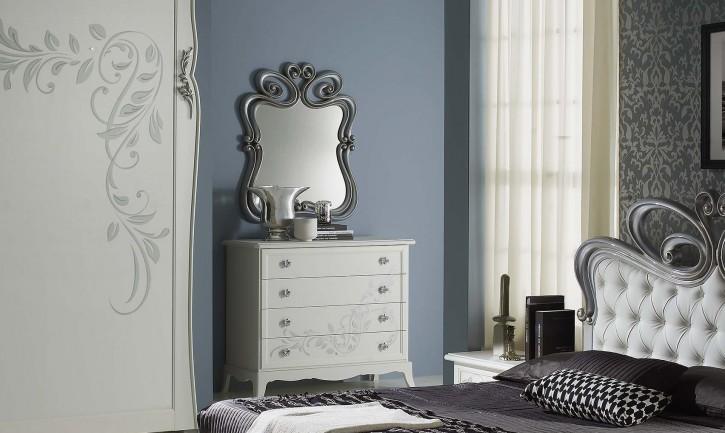 Wäschekommode mit Spiegel Perle in weiss creme Luxus