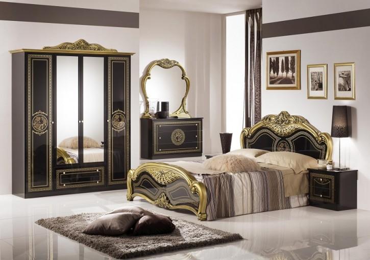 Schlafzimmer LIARA in Gold Schwarz 7-teilig
