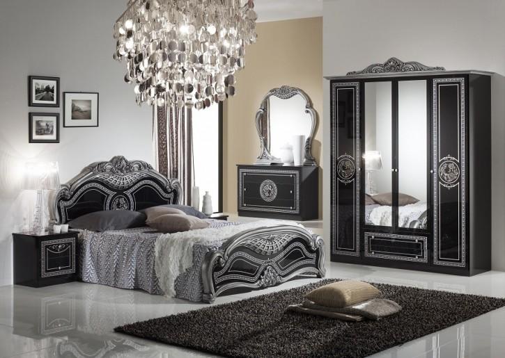 Schlafzimmer LIARA 180x 200cm in schwarz Silber 6trg Klassisch