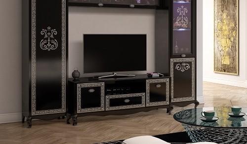 Tv Unterschrank Via in schwarz creme Barock Stil
