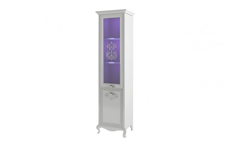 Glasvitrine Via in weiß mit LED für Wohnzimmer