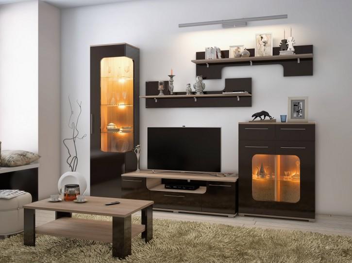 Wohnwand Tera in braun mit LED elegante Möbel
