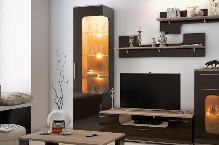 Vitrine Tera Wohnwand in braun mit LED für Wohnzimmer