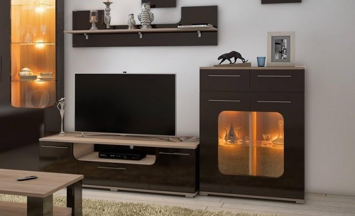 Highbord mit Glas Tera in braun mit LED für Wohnzimmer