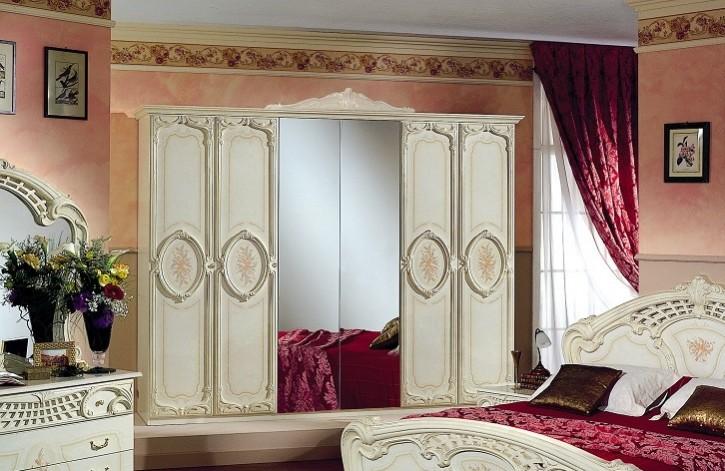 Kleiderschrank 6 türig Rozza beige creme Italien Klassik Barock