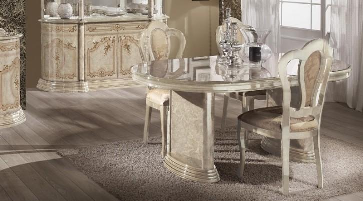 Esstisch Rozza mit 6 Stühlen beige klassisch Barock