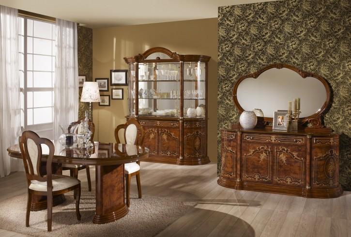 Esszimmer Rozza walnuss klassisch Barock mit Stuhl Tisch