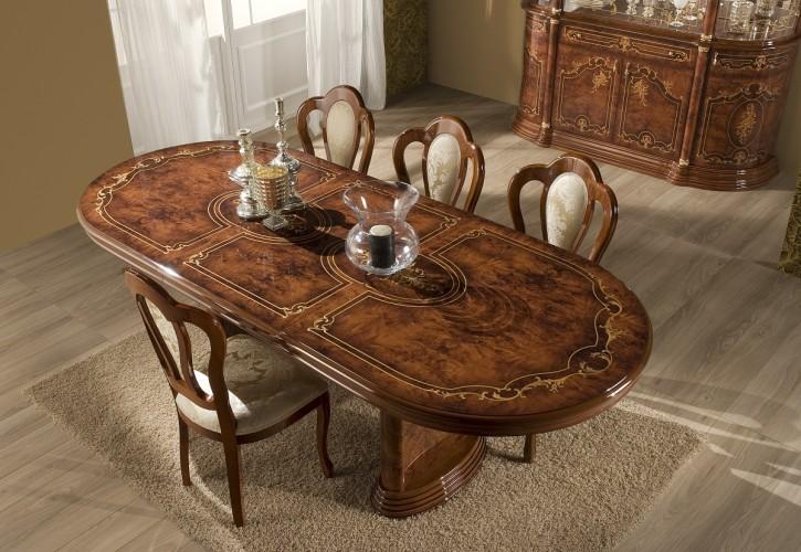 Esstisch mit Stühlen Rozza walnuss klassisch Barock