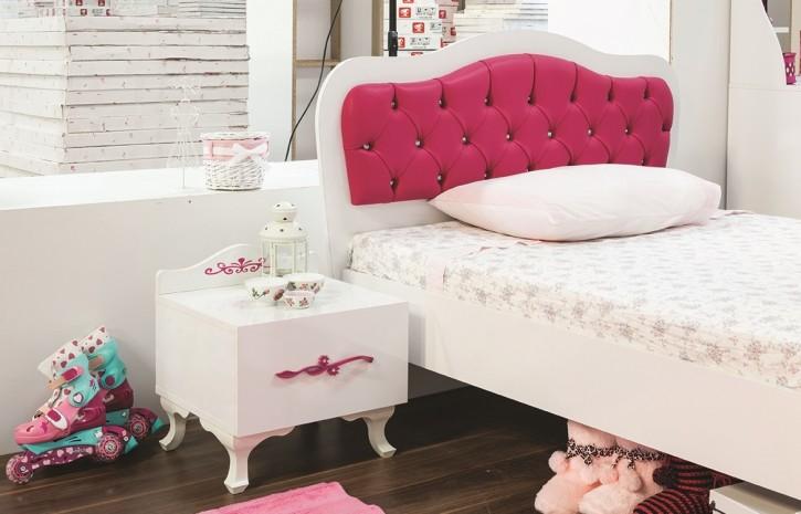 Mädchenbett Pia 100x200 cm und Nachtkonsole in weiss pink