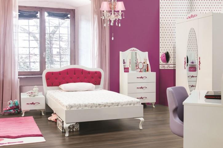 Kinderzimmer Pia Papatya weiss pink Mädchenmöbel