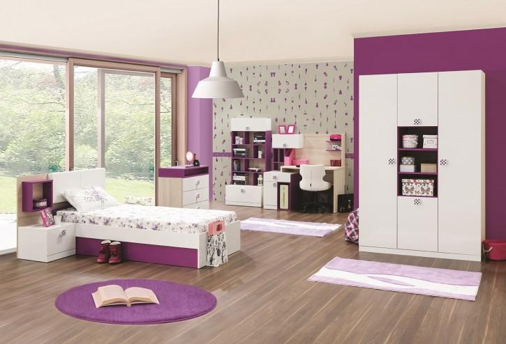 Mädchenzimmer Trend mit Stauraumbett in weiss lila