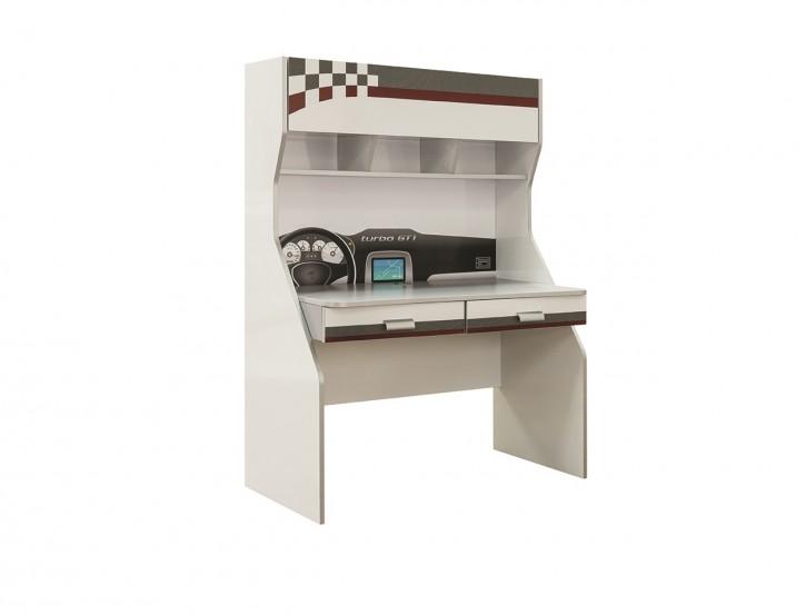 Schreibtisch inkl. Aufsatz Turbo GT in weiss grau