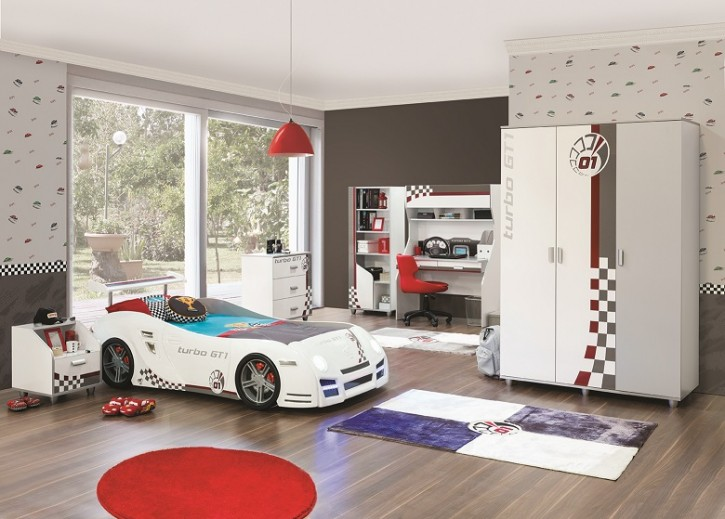 Kinderzimmer Turbo GT1 mit Autobett in weiss grau