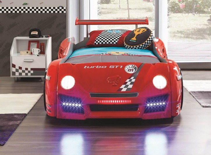 Autobett Turbo GT1 in rot und Nachtkonsole