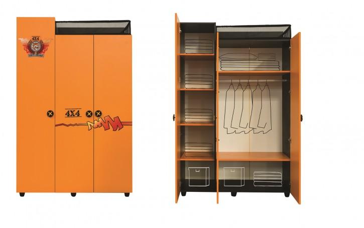 Kleiderschrank Offroad Hamer 3-trg in orange schwarz