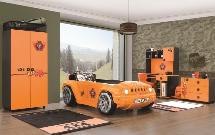 Kinderzimmer Offroad Hamer in orange schwarz Autobettzimmer