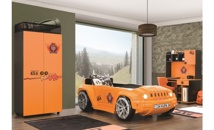 Kinderzimmer Offroad Hamer Autobett in orange schwarz