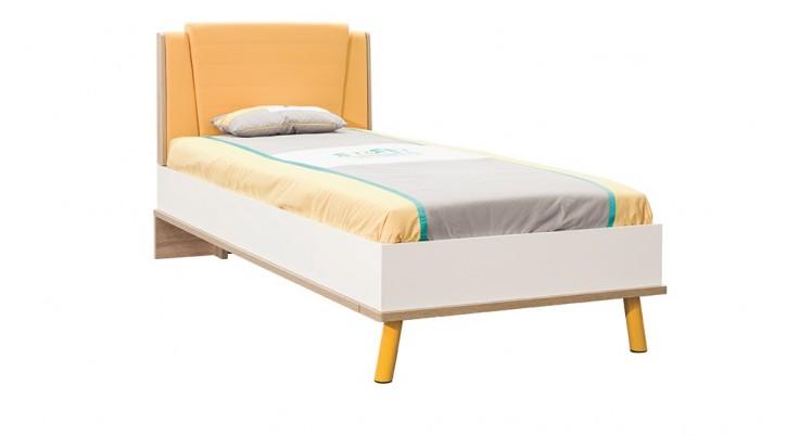 Bett 90x200 cm Street in gelb weiss Holzoptik