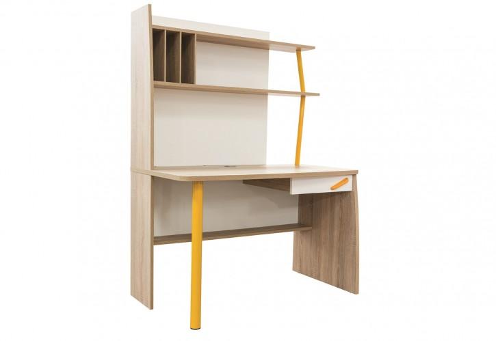 Schreibtisch inkl. Aufsatz Street in gelb weiss Holzoptik