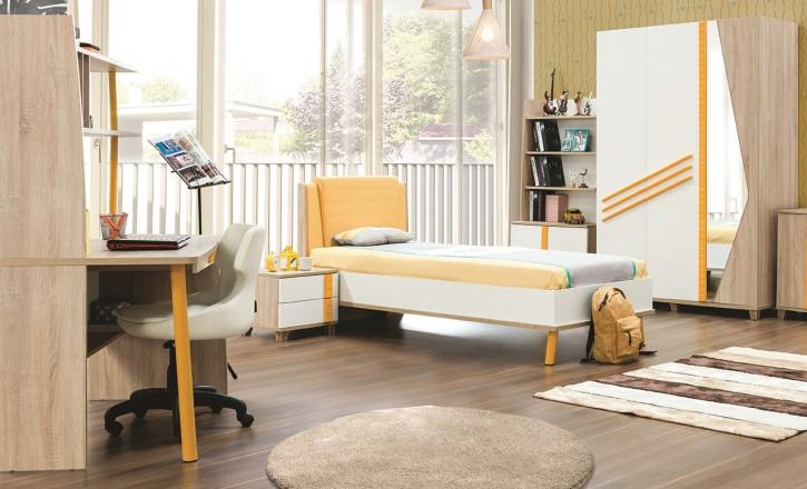 Jugendzimmer Street 5tlg in gelb weiss Holzoptik Kinderzimmer