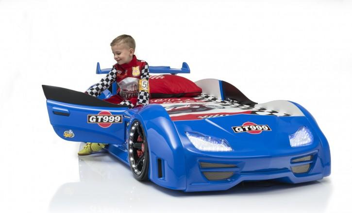 Autobett Turbo GT999 in blau mit LED und Spoiler Tür öffnet sich