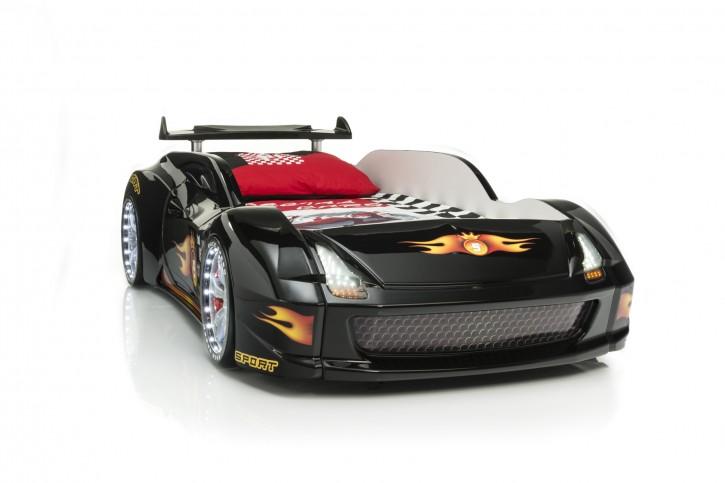 Autobett Racer-Fivex schwarz Vollfunktion mit Lattenrost mit LED