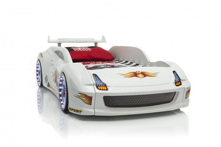 Autobett Racer-Fivex weiss Vollfunktion mit Lattenrost mit LED
