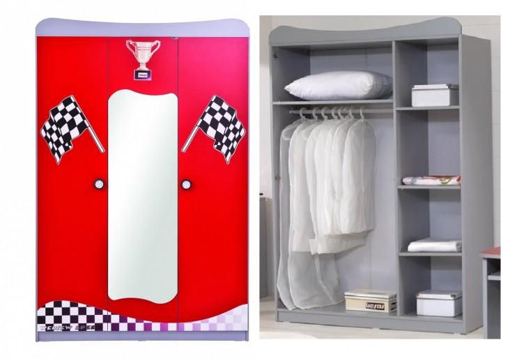 Kleiderschrank Racer 3trg. in rot für Kinderzimmer