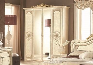 Kleiderschrank Alice 4 türig in beige creme Schlafzimmermöbel