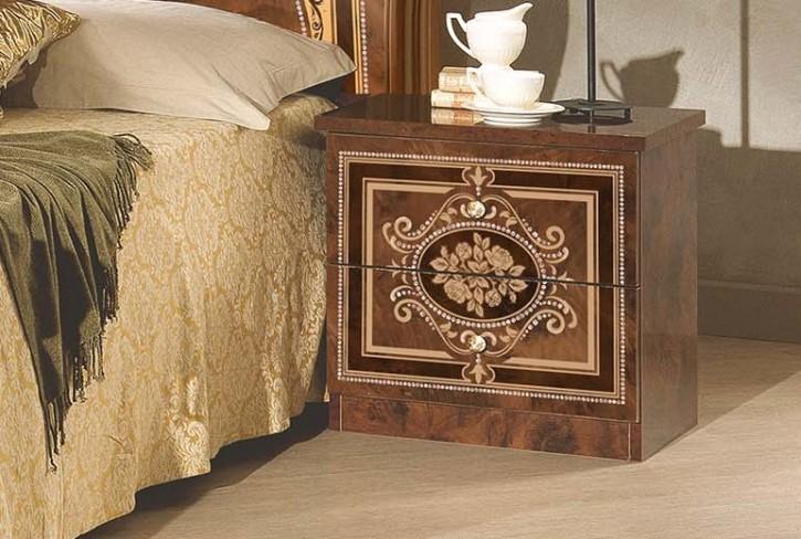 Nachtkonsole Alice in Walnuss Gold für Schlafzimmer
