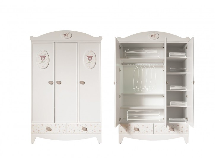 kleiderschrank 3 trg rabbit f r babyzimmer 73403. Black Bedroom Furniture Sets. Home Design Ideas