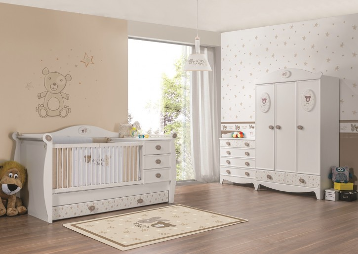 babyzimmer rabbit in weiss 3tlg 3trg kleiderschrank rabb set. Black Bedroom Furniture Sets. Home Design Ideas