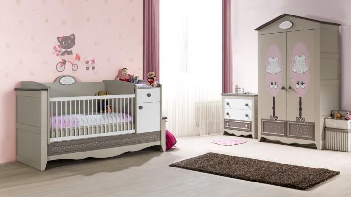 Babyzimmer Houses  3 tlg braun beige weiss Boutique style Prinze