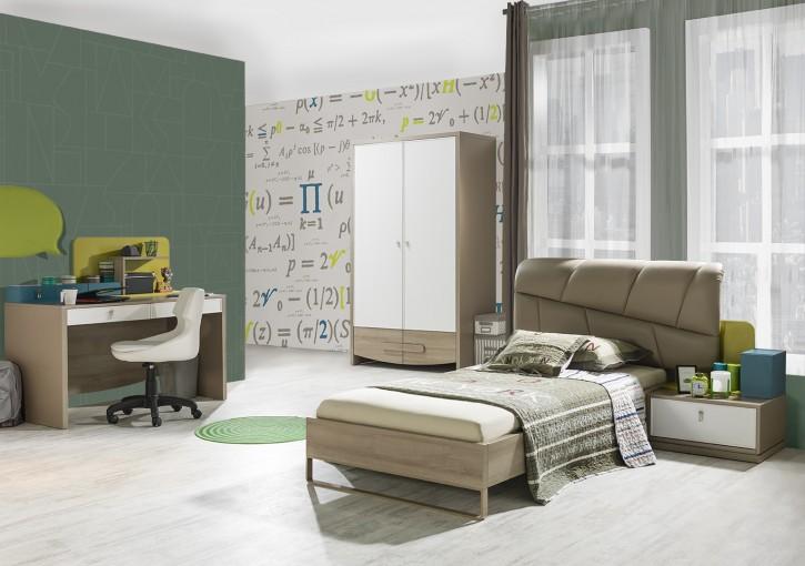 Jugendzimmer Green 90x200cm Bett Schrank 2trg modern braun beige