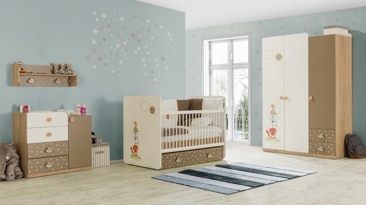 Babyzimmer carino braun beige weiss tier sternmotiv for Babyzimmer braun