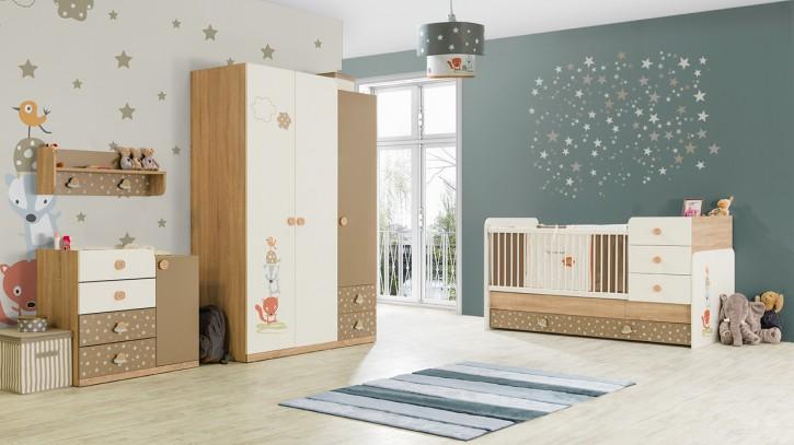 Babyzimmer Carino Bett Vergrößerbar Braun Beige Weiss Tier Stern 74504/3/6/